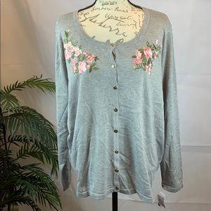 Karen Scott  Floral pattern cardigan sweater